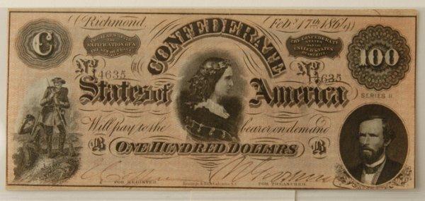 9: Confederate $100 Bill Richmond 2/17/1864