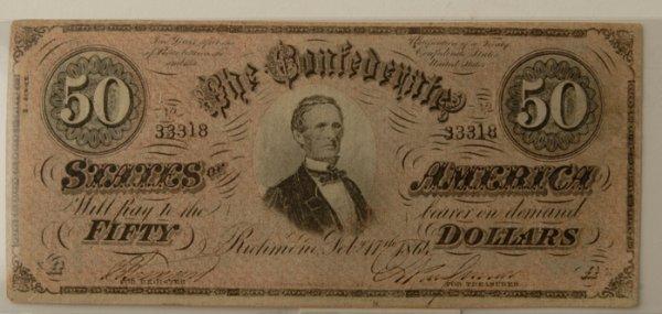 11: Confederate $50 Bill Richmond 2/17/1861