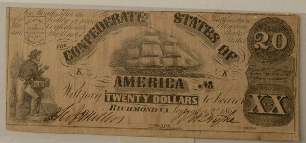 12: Confederate $20 Bill with sailing ship 9/2/1861