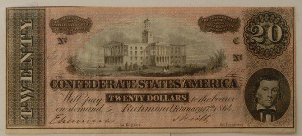 13: Confederate $20 Bill w/ Capitol Building