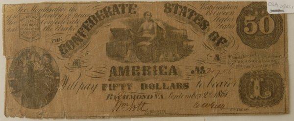 14: Confederate $50 Bill Richmond 9/2/1861