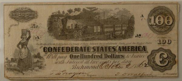 15: Confederate $100 Bill Richmond 10/2/1862