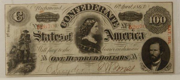 16: Confederate $100 Bill Richmond 4/6/1863
