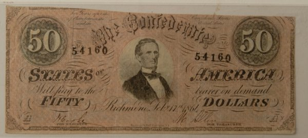17: Confederate $50 Bill 2/17/1861