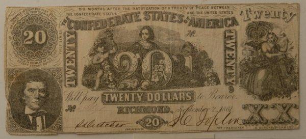 18: Confederate $20 Bill Richmond 9/2/1861