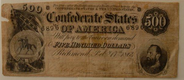 19: Confederate $500 Bill 2/17/1864