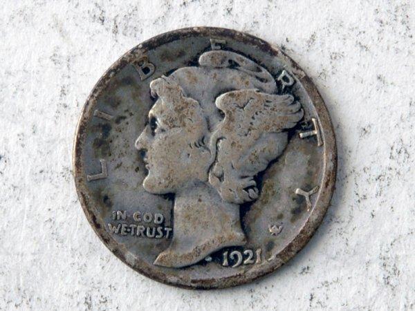 20: 1921-D Mercury Dime