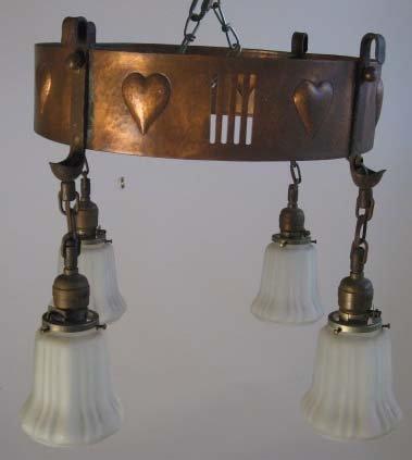 1011: Gustav Stickley Electrolier #401, 4-light version