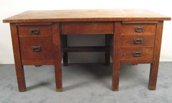 1012: A Gustav Stickley Double Pedestal Desk,