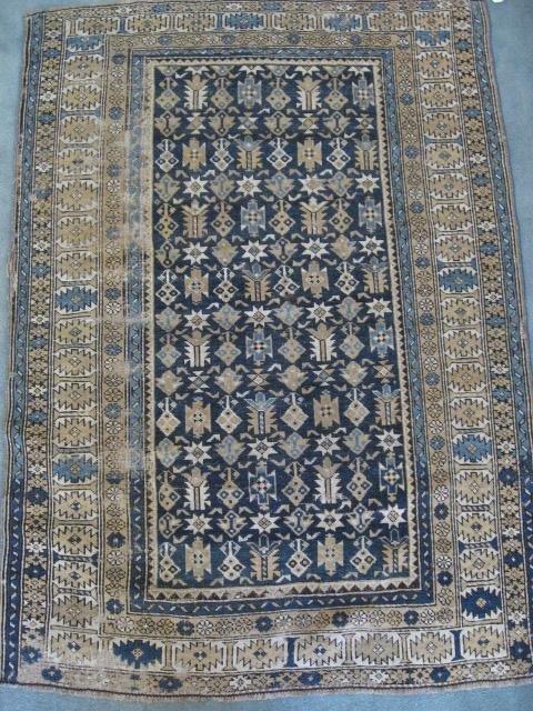 "1015: Antique Shirvan Rug, 4'6 x 3'3"""""
