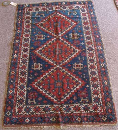 "1019: Antique Kazak Rug, 6'1 x 3'9"""""