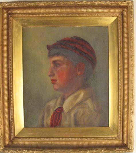1020: L 19th C Oil on Canvas of English Schoolboy