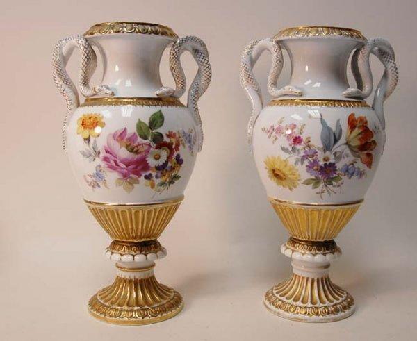1023: A Pair of 19th C Meissen Vases,