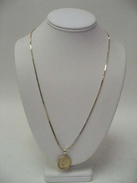2020: 14k Yellow Gold Box Link Necklace with Pendant