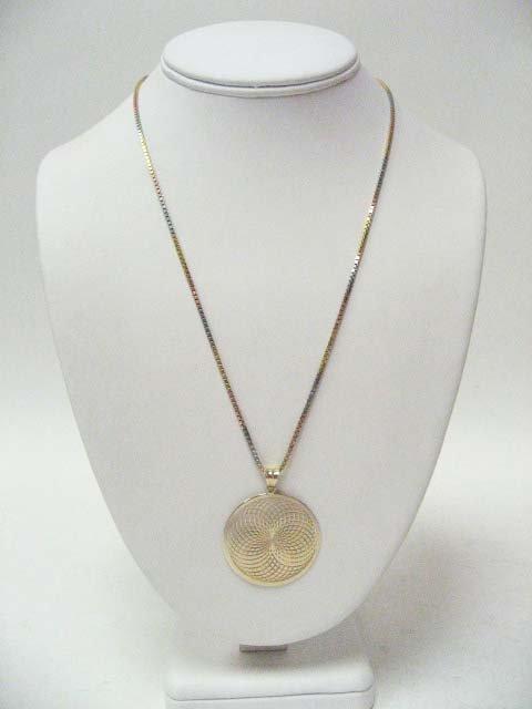 2021: 14k Tricolor Gold Hollow Box Link Necklace