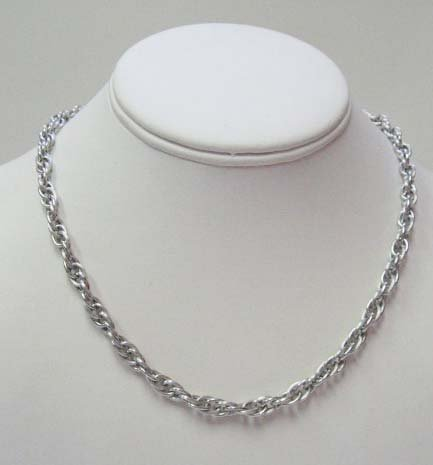 2022: 14k White Gold French Rope Hollow Necklace