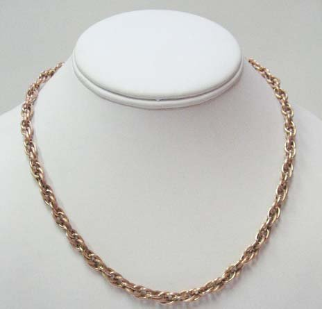 2023: 14k Pink Gold French Rope Hollow Link Necklace