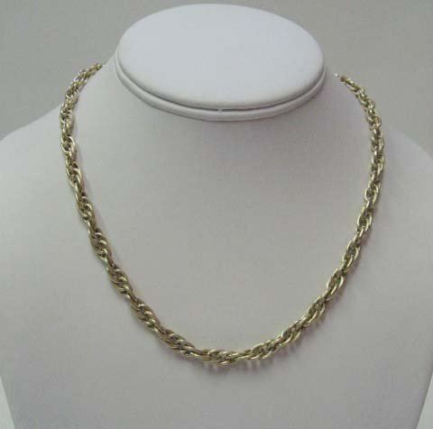 2024: 14k Yellow Gold French Rope Hollow Link Necklace