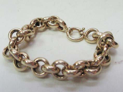 2029: 14k Yellow Gold Hollow Cable Link Bracelet