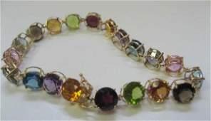 2242: 14k Yellow Gold Multi Color Gemstone Bracelet