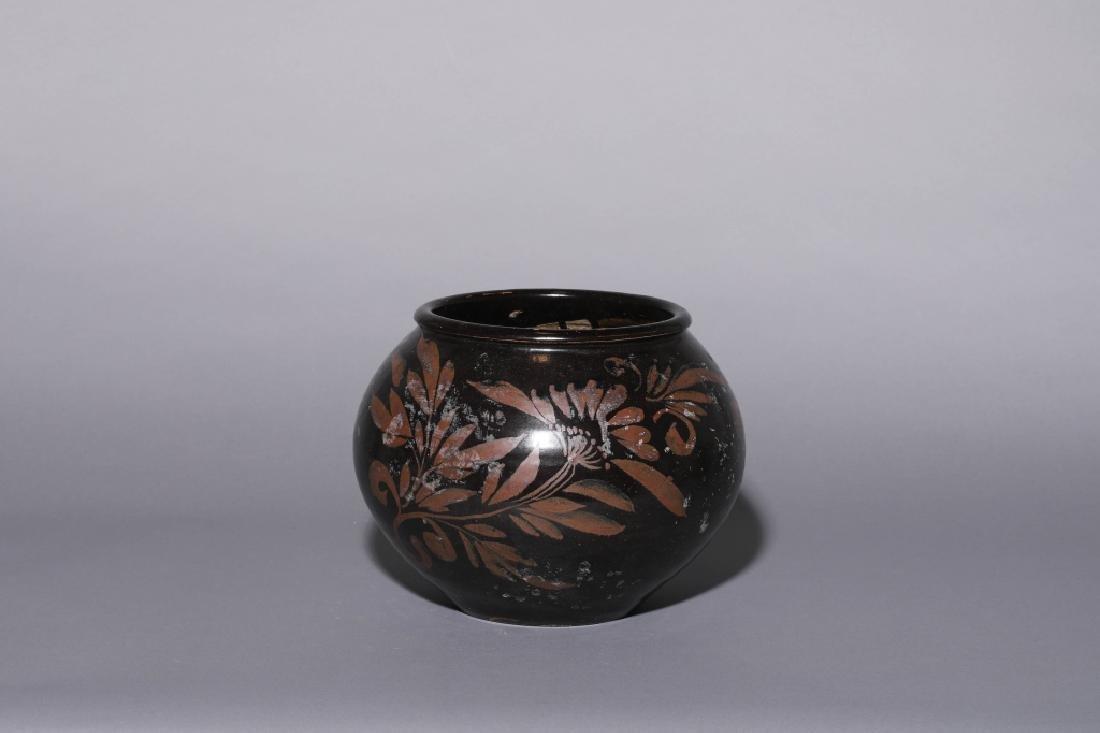 BLACK GLAZE RUST FLOWER JAR