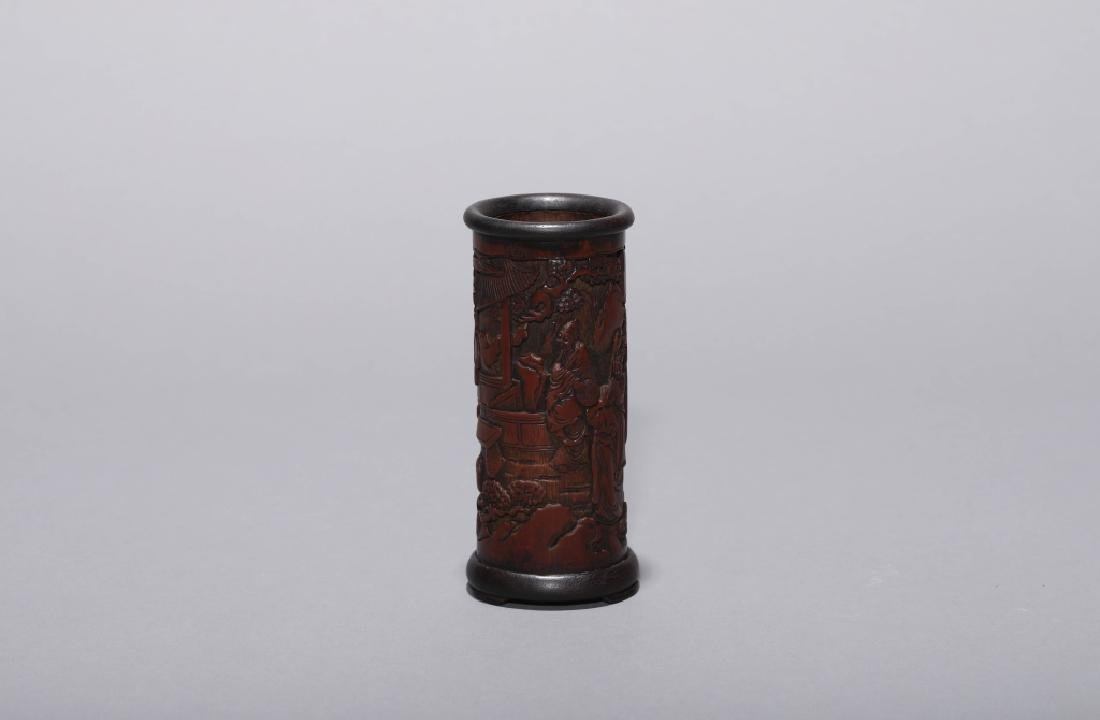 BAMBOO CARVED CHARACTER PEN POT