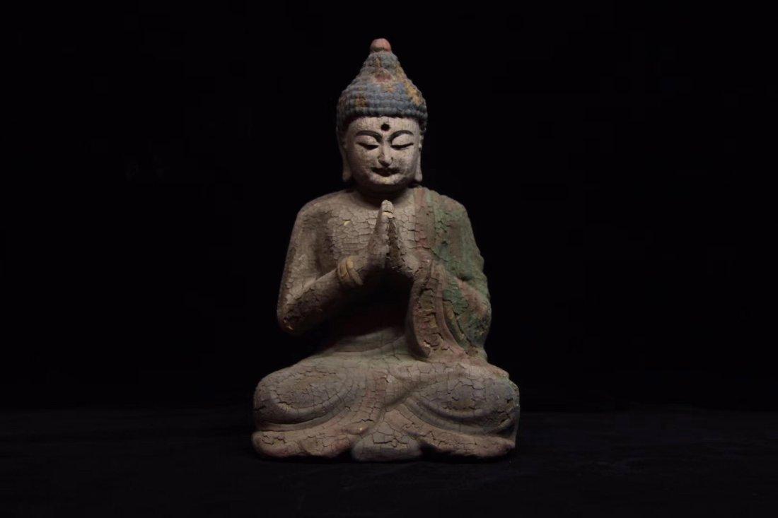 COLORED DRAWING WOOD BUDDHA FIGURE