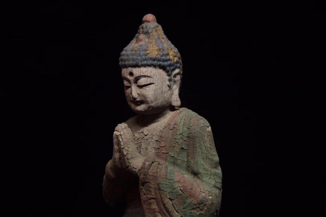 COLORED DRAWING WOOD BUDDHA FIGURE - 2