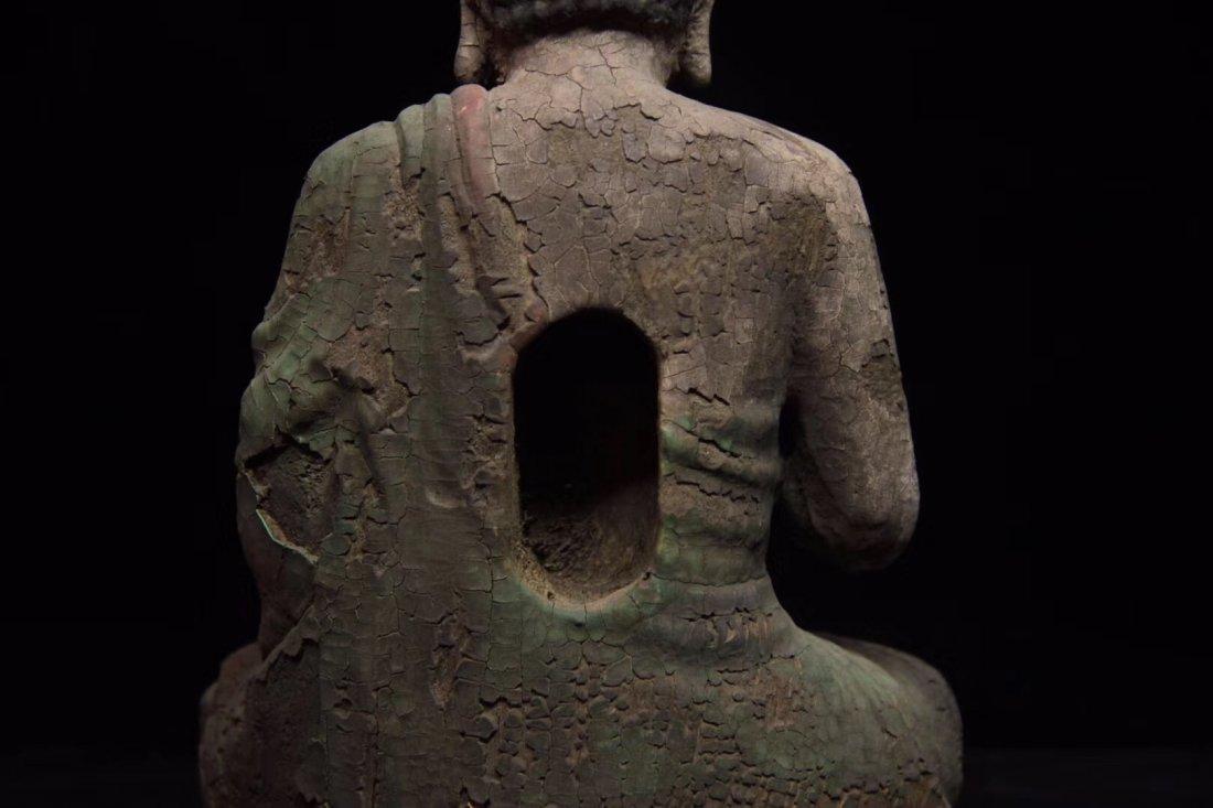 COLORED DRAWING WOOD BUDDHA FIGURE - 4