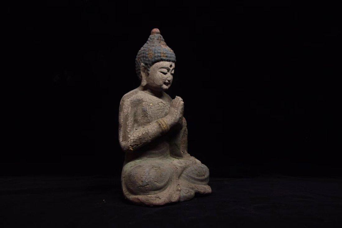COLORED DRAWING WOOD BUDDHA FIGURE - 5