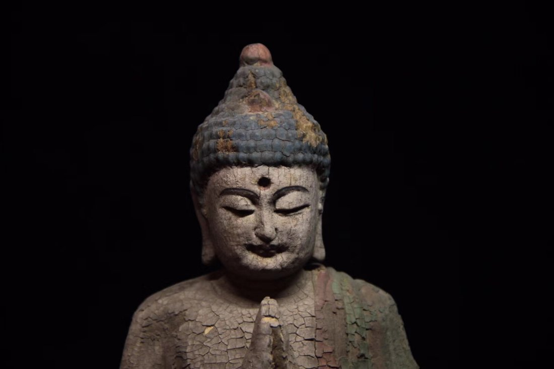 COLORED DRAWING WOOD BUDDHA FIGURE - 6
