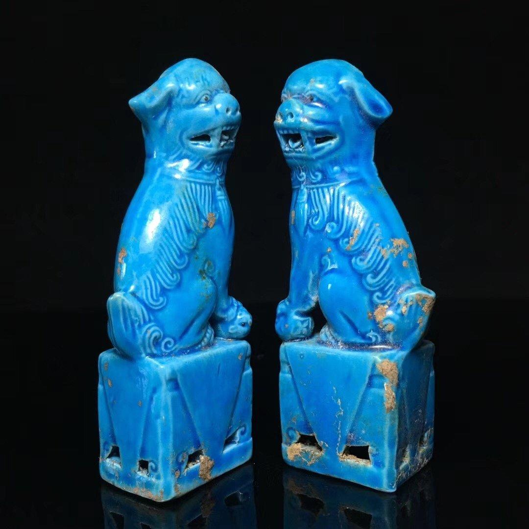 BLUE GLAZED LION DECORATION PORCELAIN (PAIR) - 2