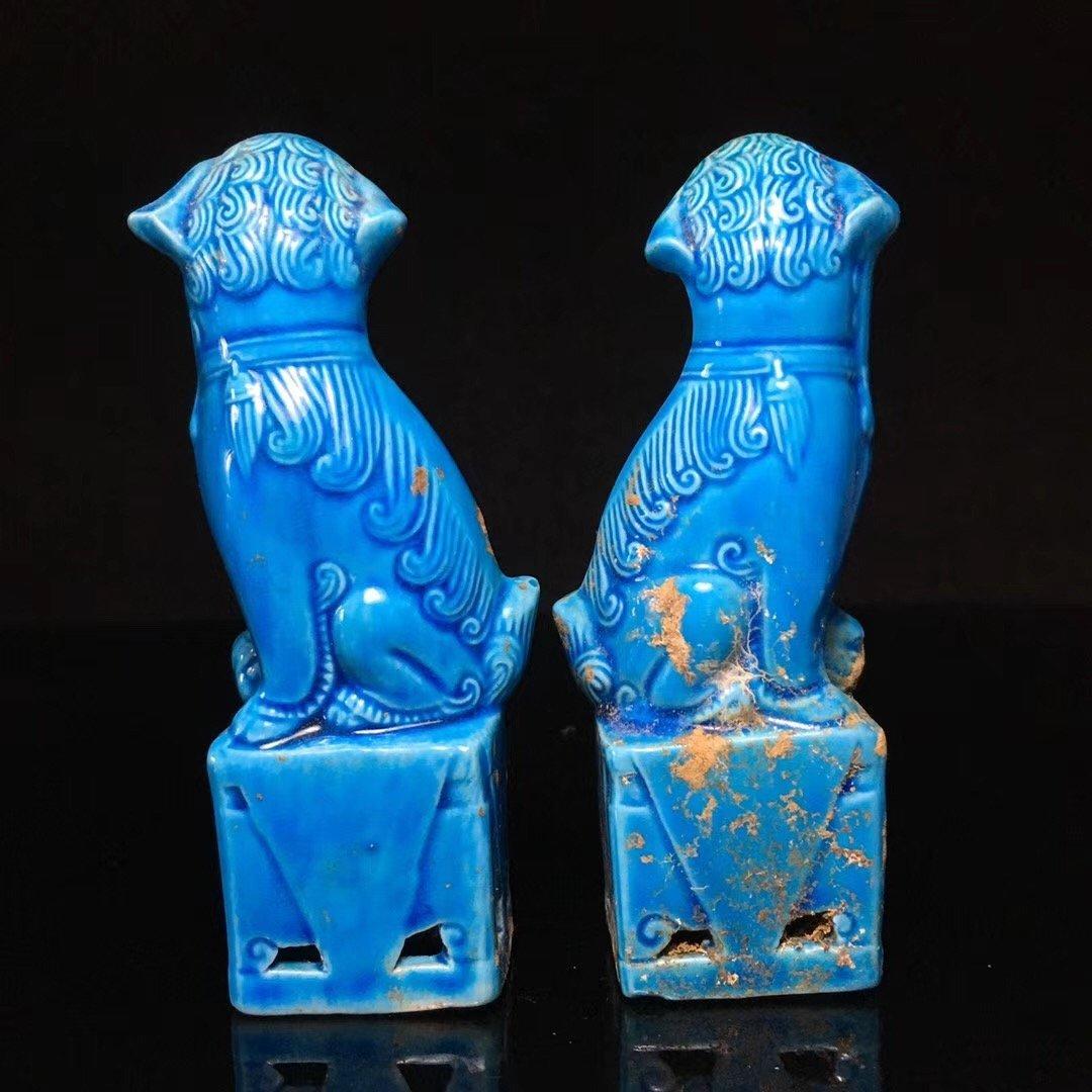BLUE GLAZED LION DECORATION PORCELAIN (PAIR) - 3