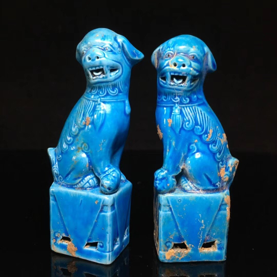 BLUE GLAZED LION DECORATION PORCELAIN (PAIR) - 4