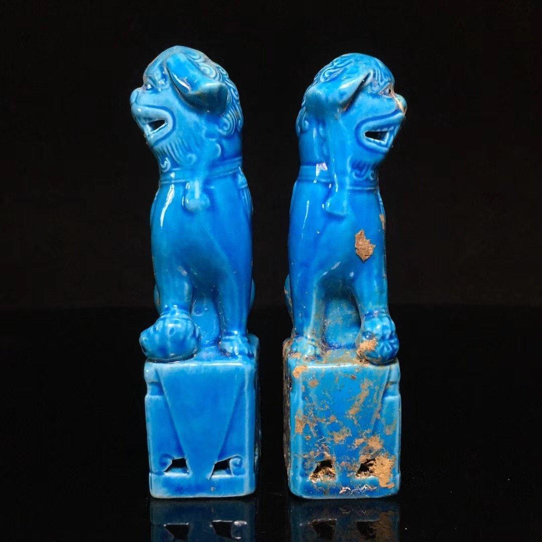 BLUE GLAZED LION DECORATION PORCELAIN (PAIR) - 6