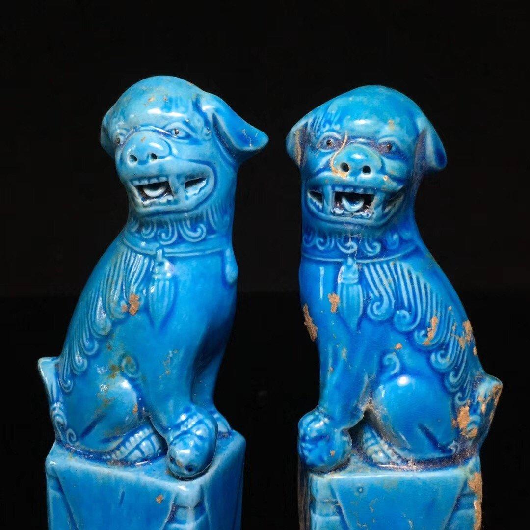 BLUE GLAZED LION DECORATION PORCELAIN (PAIR) - 7