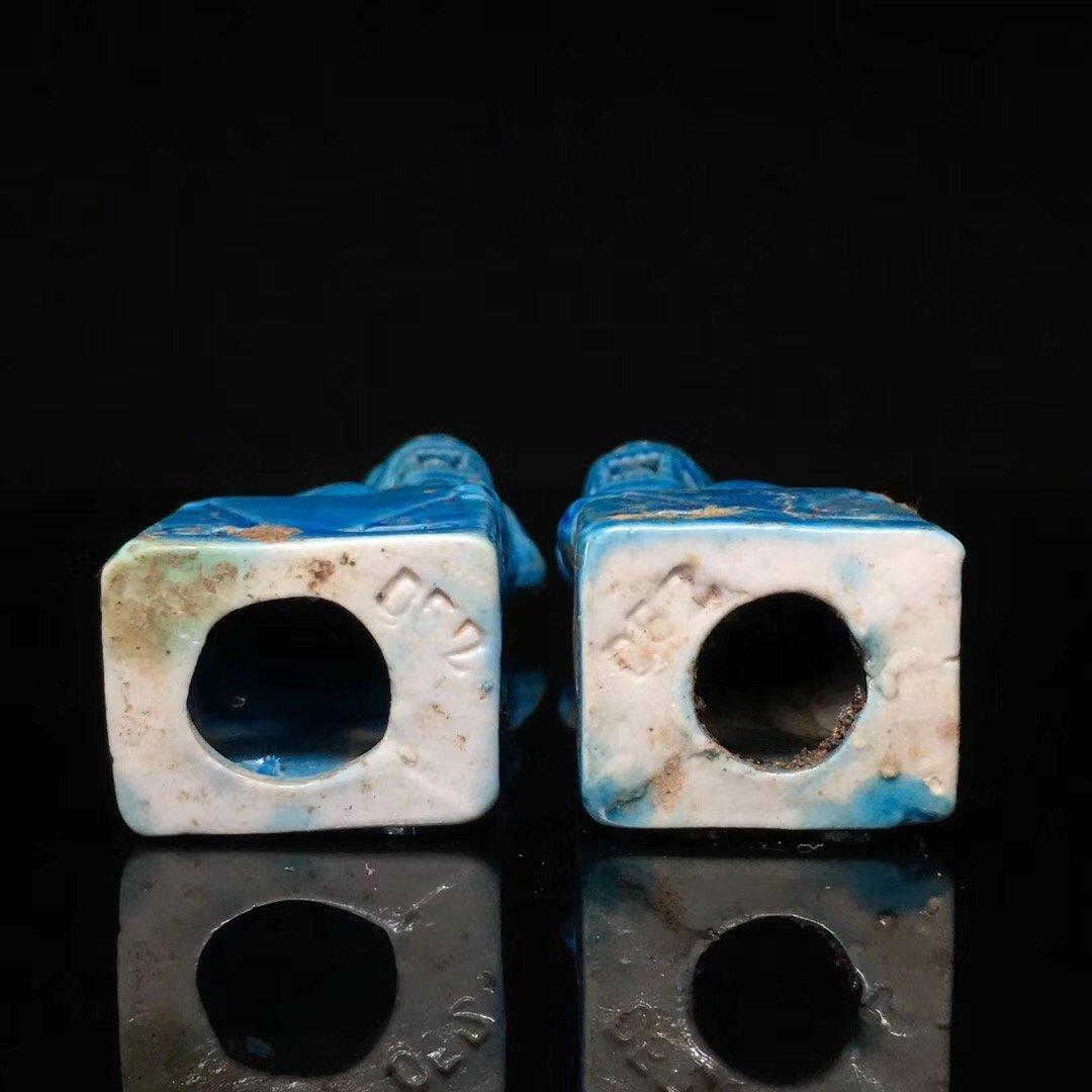 BLUE GLAZED LION DECORATION PORCELAIN (PAIR) - 8