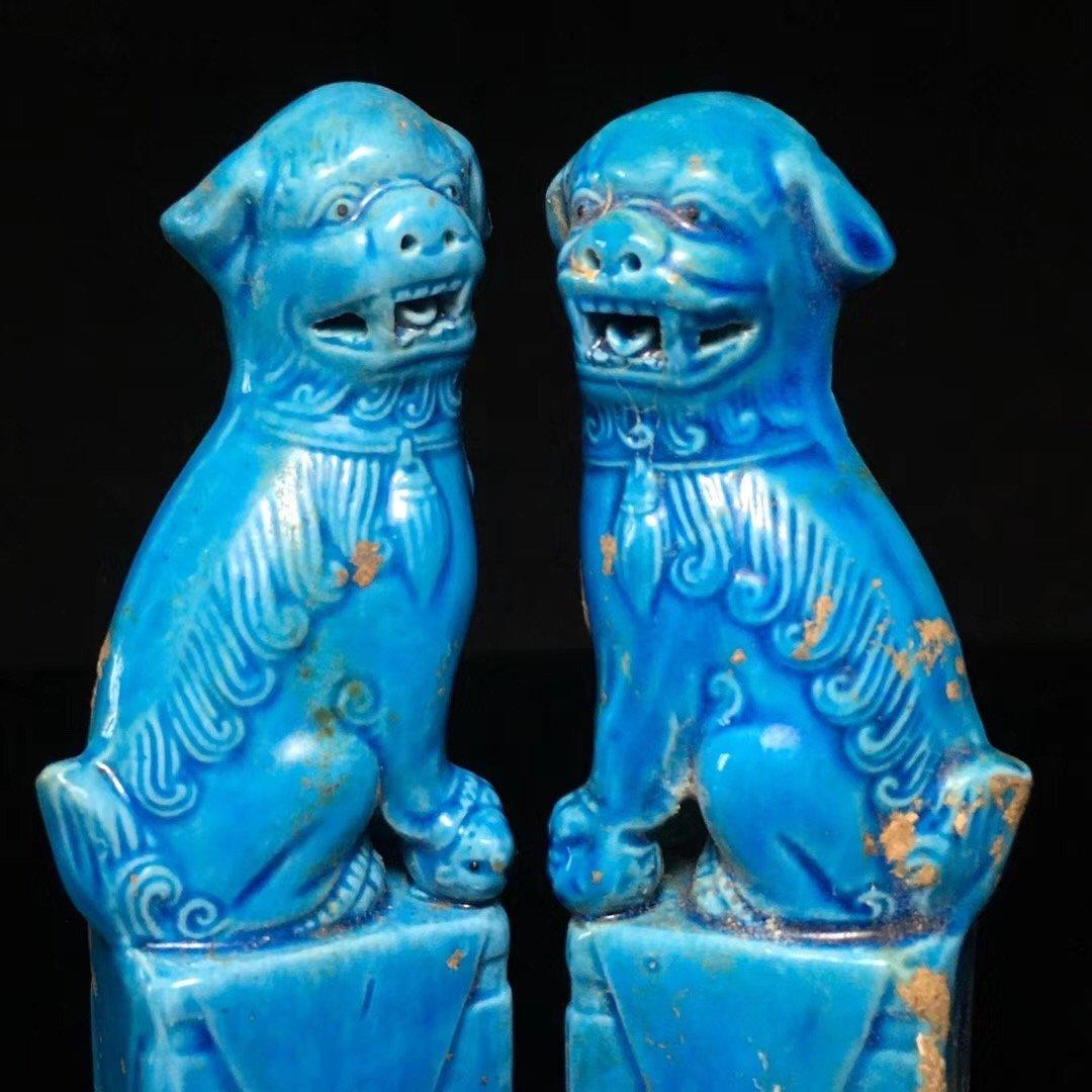 BLUE GLAZED LION DECORATION PORCELAIN (PAIR) - 9