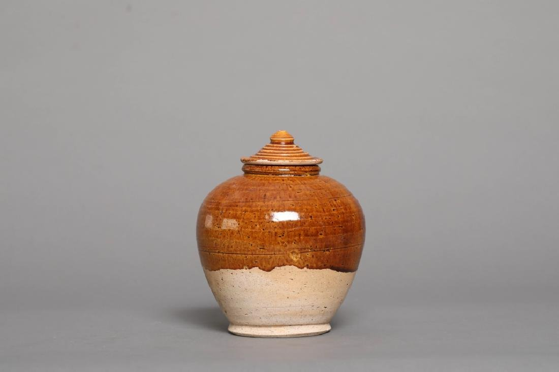 YELLOW GLAZED JAR WITH COVER