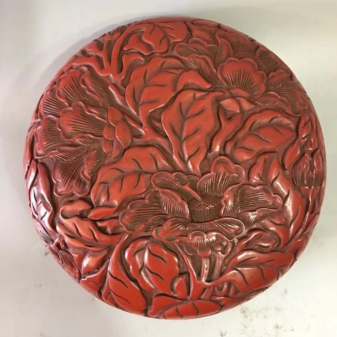 CARVED RED LACQUER PEONY CASE