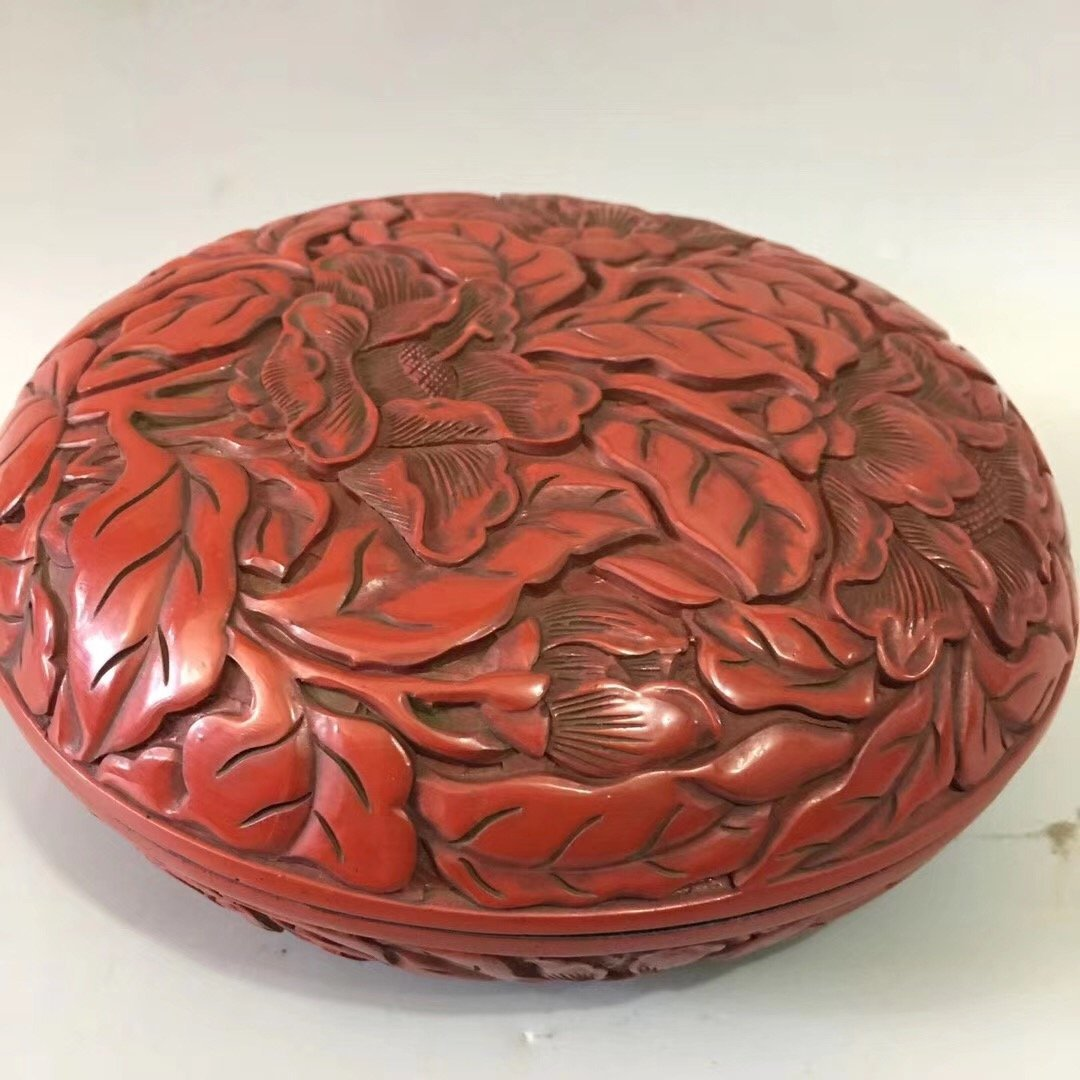 CARVED RED LACQUER PEONY CASE - 2