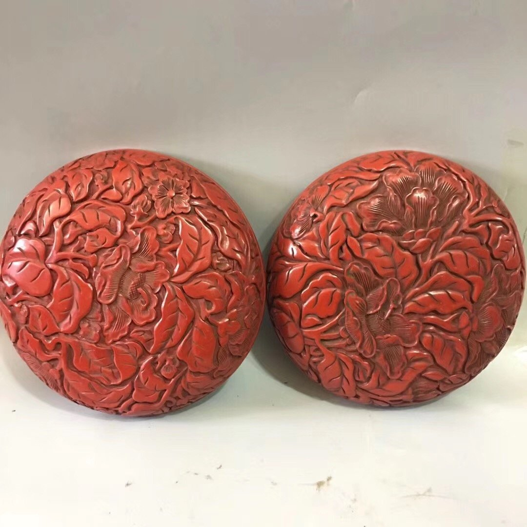 CARVED RED LACQUER PEONY CASE - 5