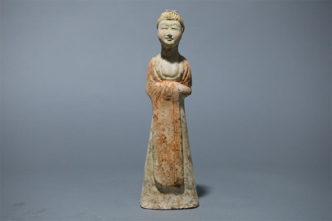 WHITE POTTERY PAINTING LADY FIGURE