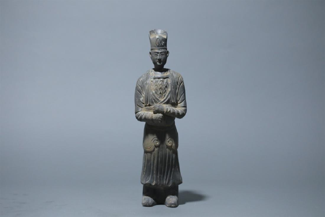 BLACK POTTERY GUARDIAN FIGURE