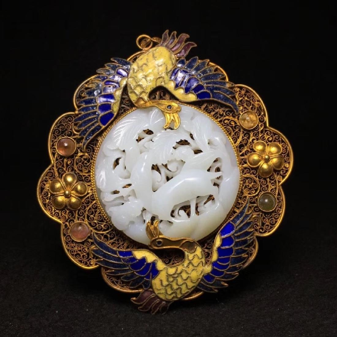 JADE INLAID GILDING AND SILVER PENDANT