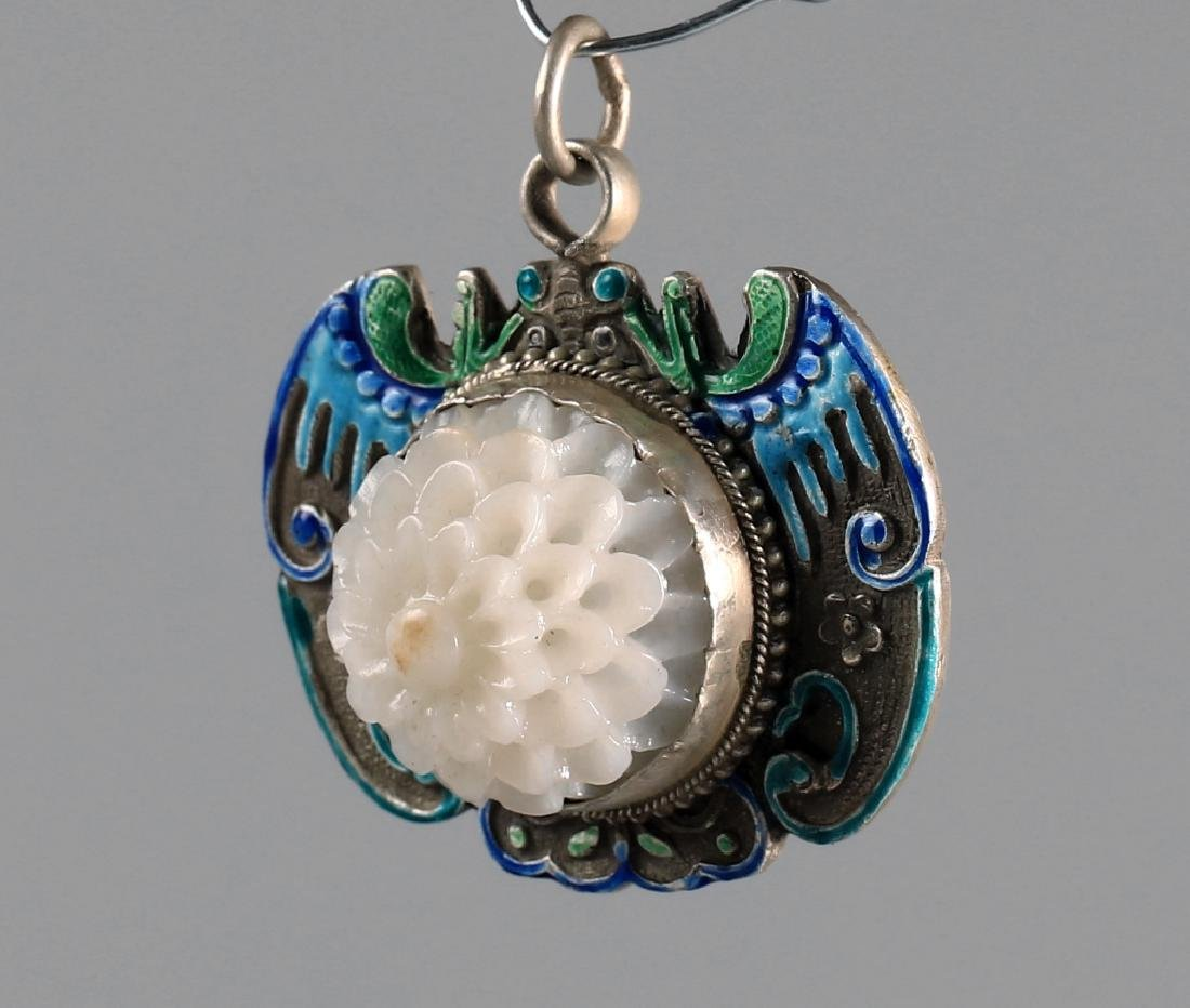 SILVER BLUING FILAMENT INLAY CARVED CHRYSANTHEMUM - 2