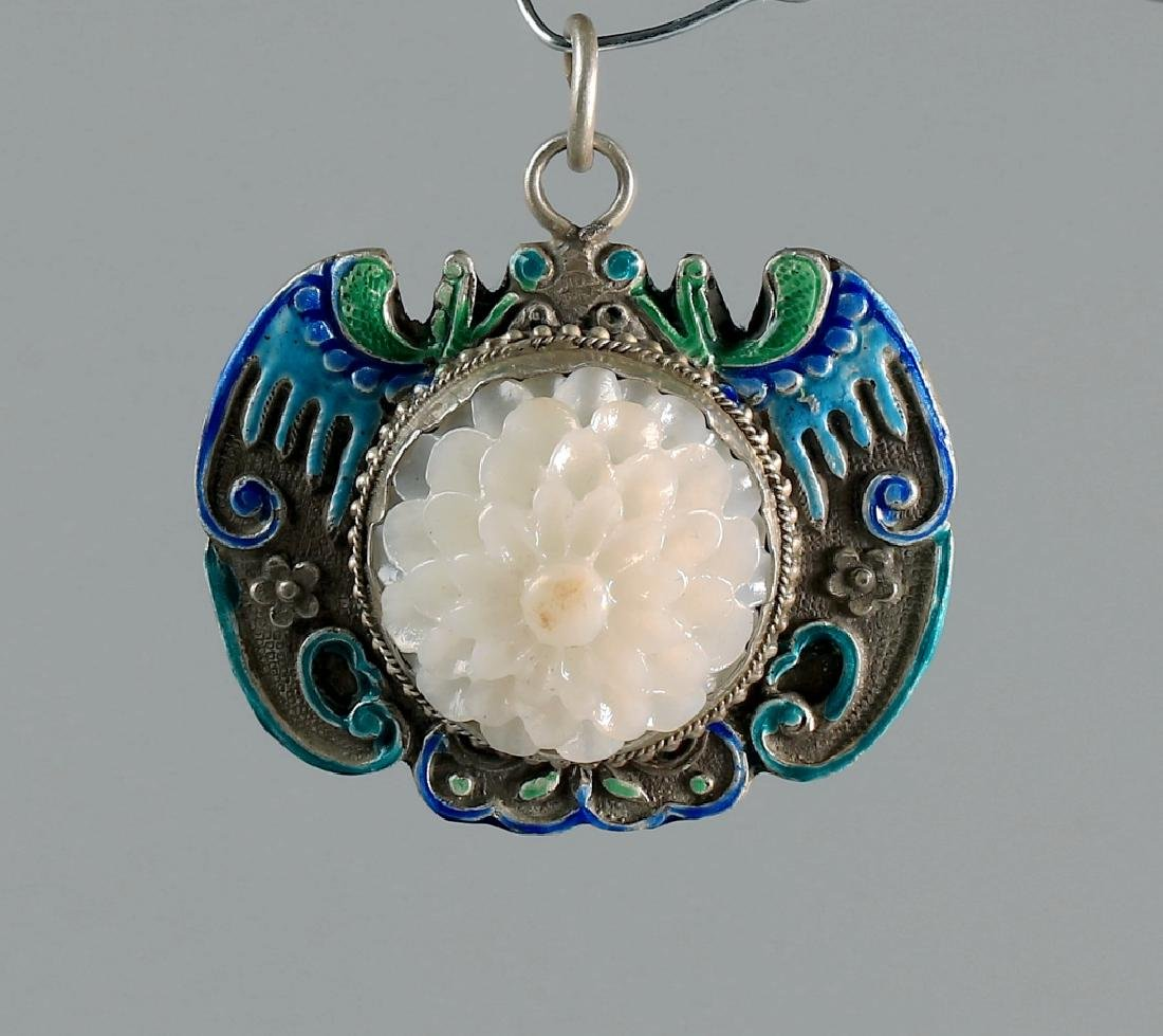 SILVER BLUING FILAMENT INLAY CARVED CHRYSANTHEMUM - 3