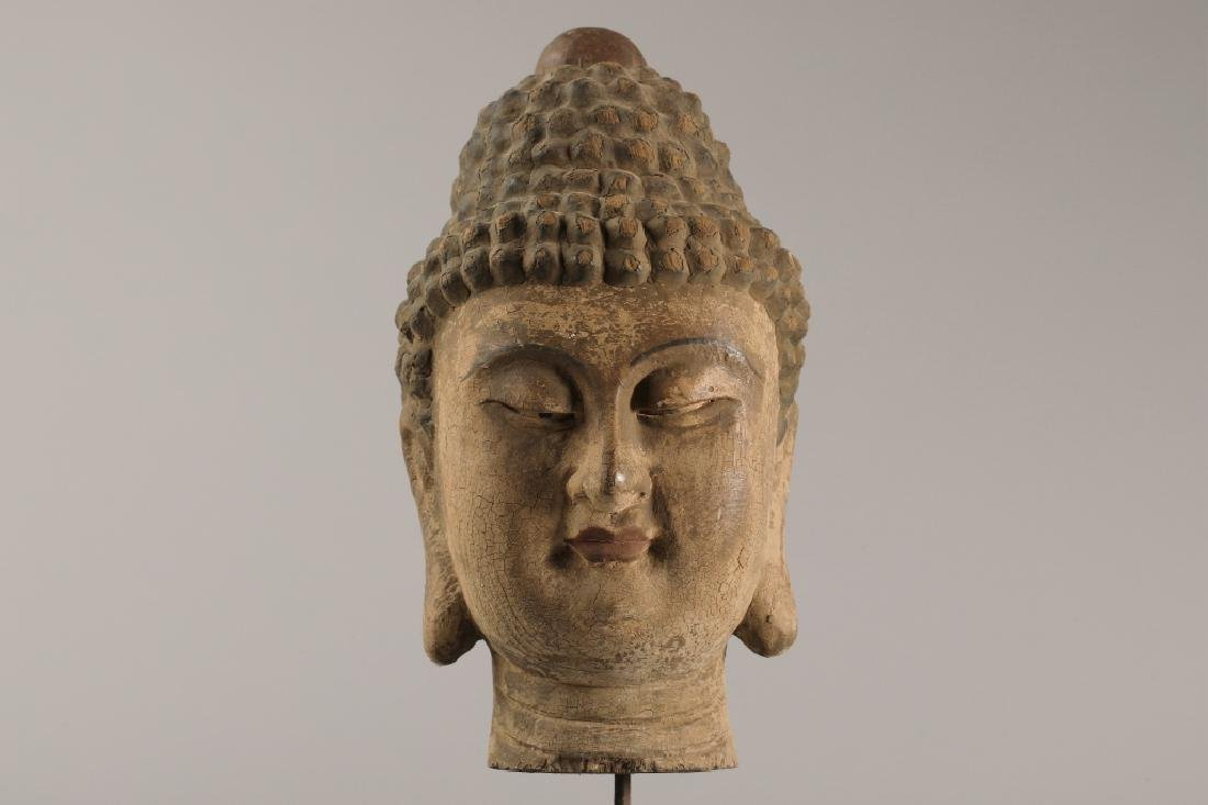 WOOD CARVED BUDDHA FIGURE - 8