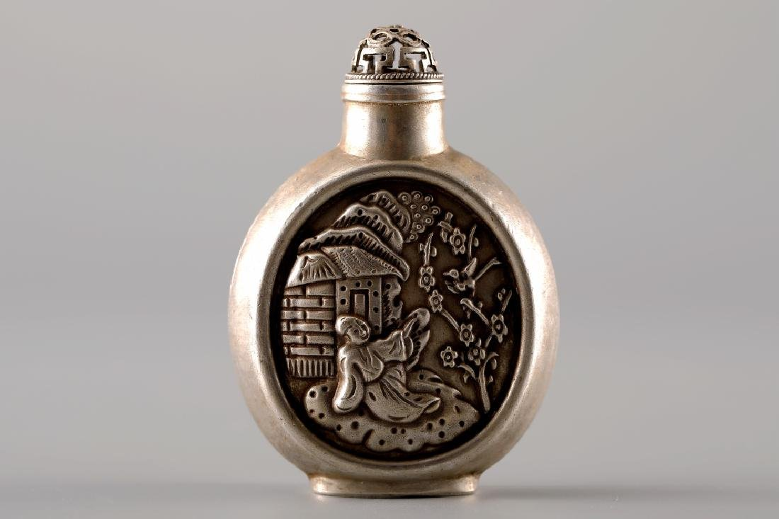 SILVER CARVED IMPRINT SNUFF BOTTLE