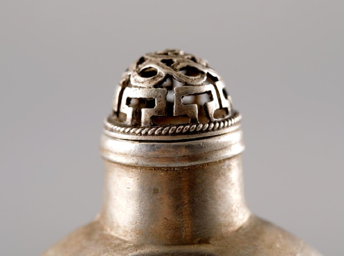 SILVER CARVED IMPRINT SNUFF BOTTLE - 6